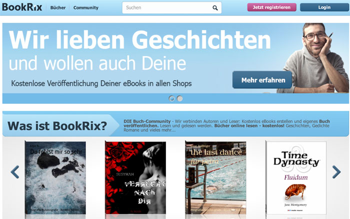 Die Bookrix-Homepage