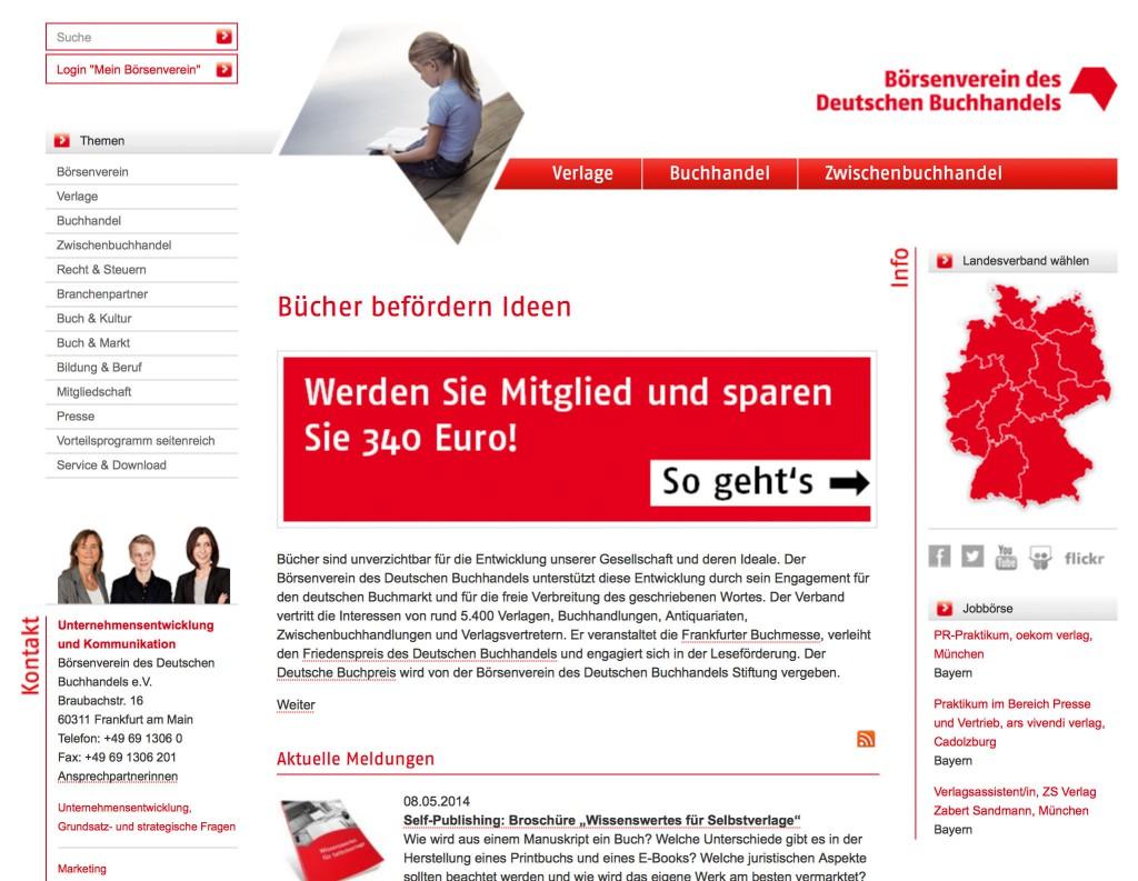 Die Homepage des Börsenvereins