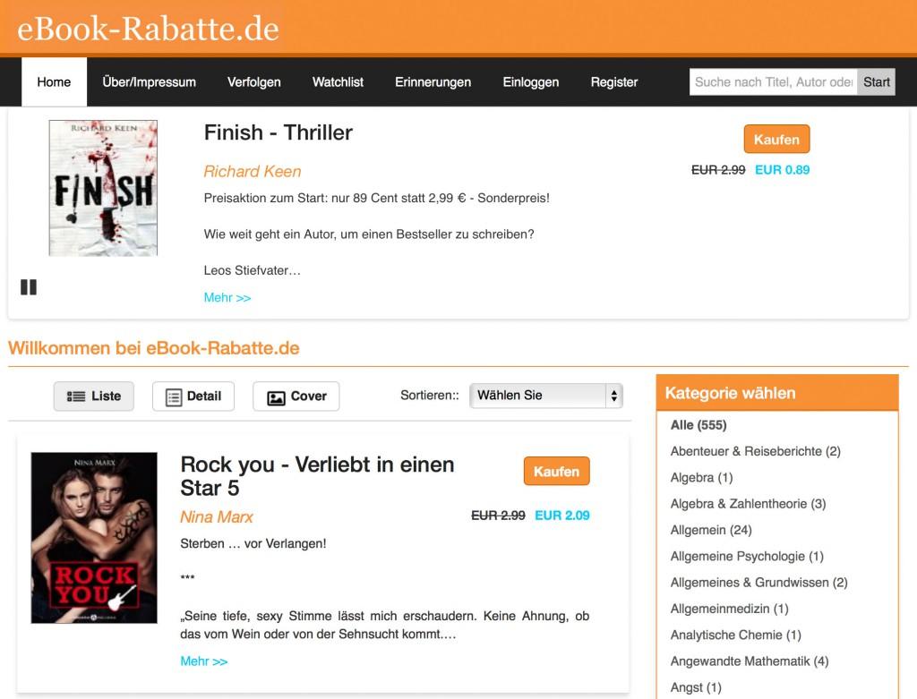 Auf eBook-Rabatte.de können Sie für eigene Preisaktionen werben.