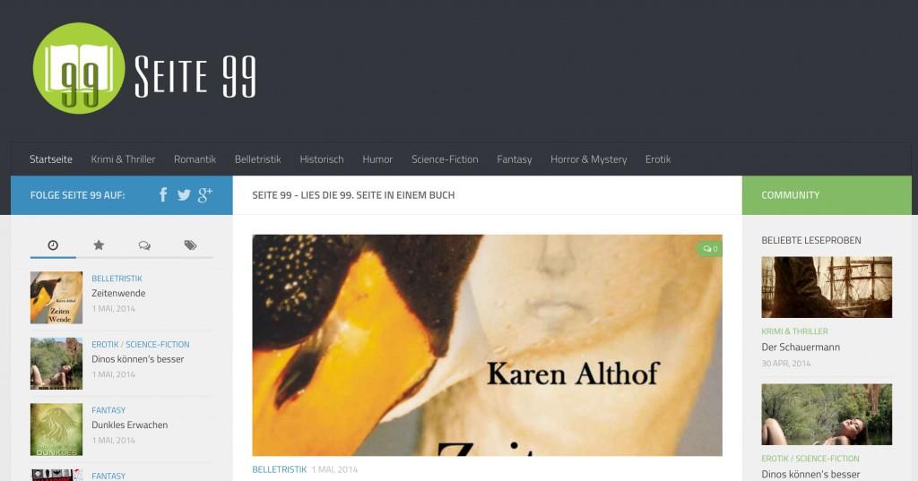 Die Homepage von Seite 99