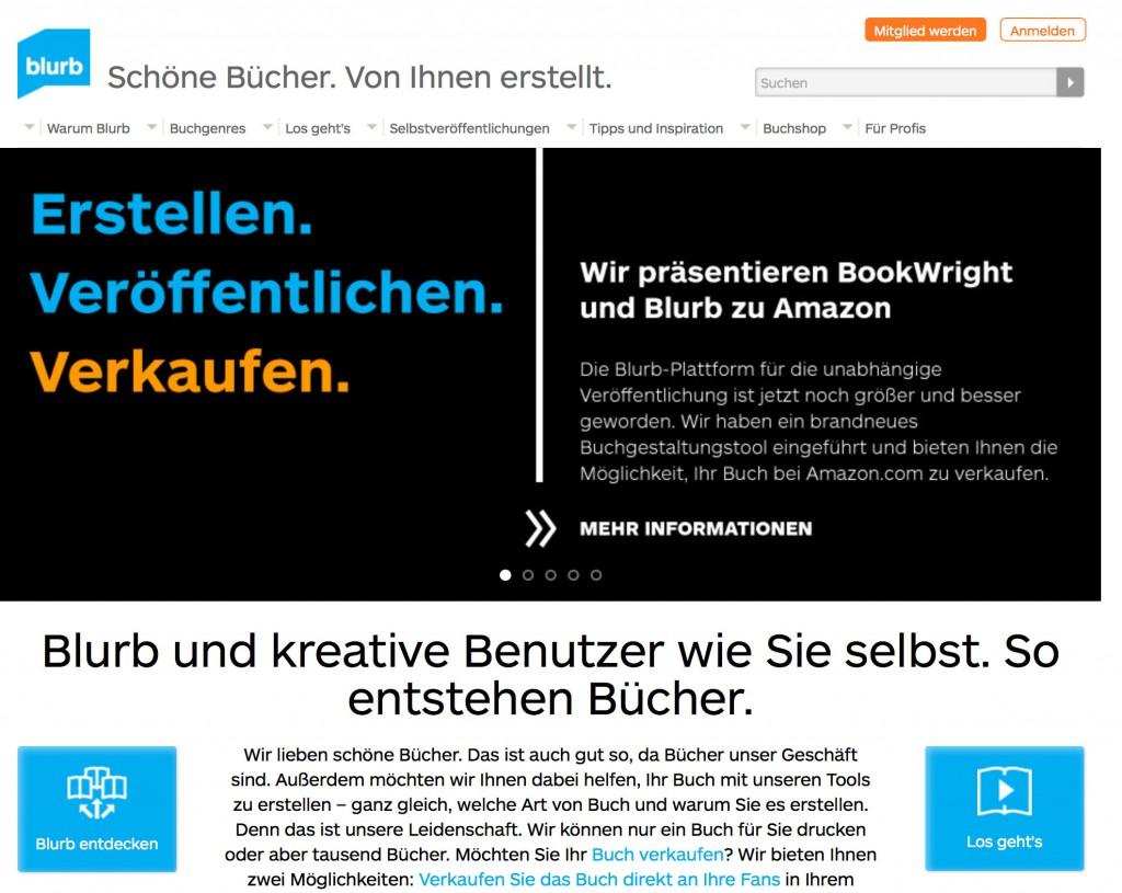 Die deutsche Homepage von Blurb