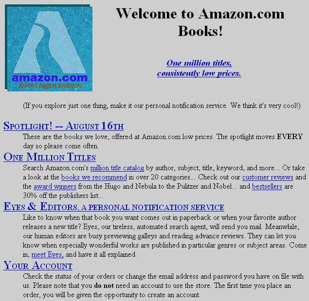 """Amazons erste Homepage – schon damals der """"größte Buchladen der Welt"""""""