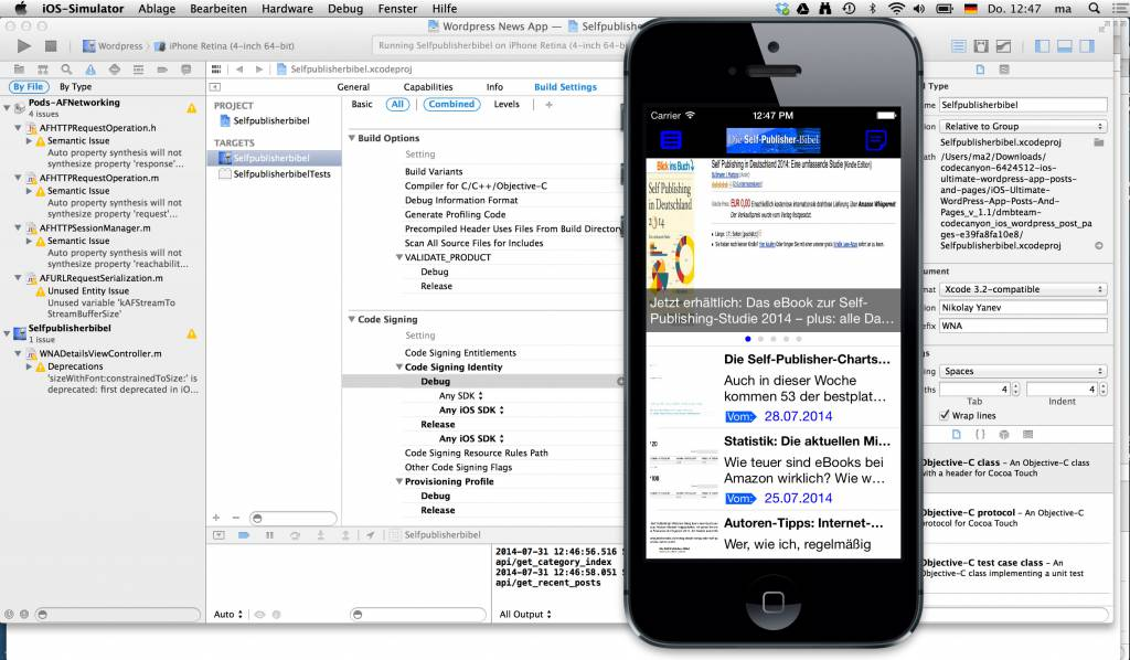 Die App in Xcode