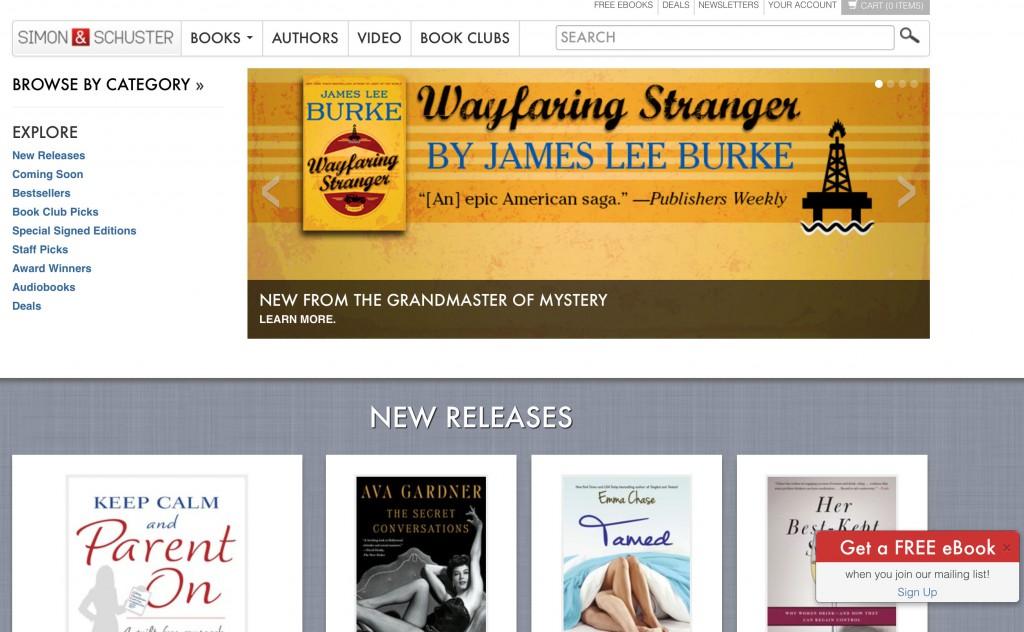 Die Verlags-Homepage von Simon & Schuster