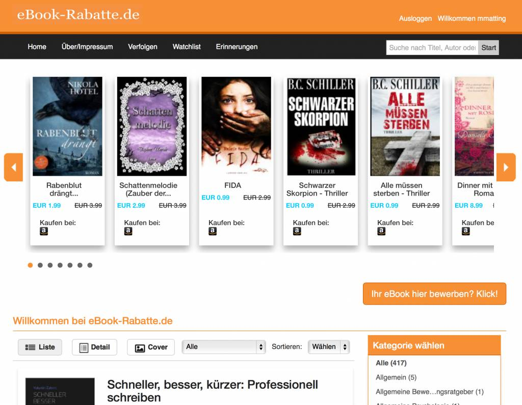 Die Homepage von eBook-Rabatte.de