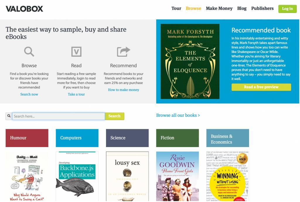 Die Homepage von Valobox