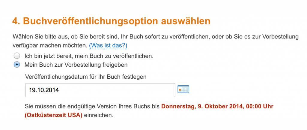 Die Vorbestell-Funktion zeigt, bis wann das endgültige eBook hochzuladen ist