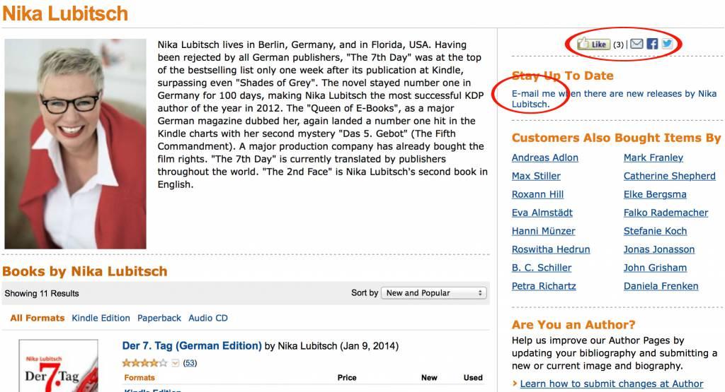 Neue Elemente auf der Autorenseite bei Amazon.com