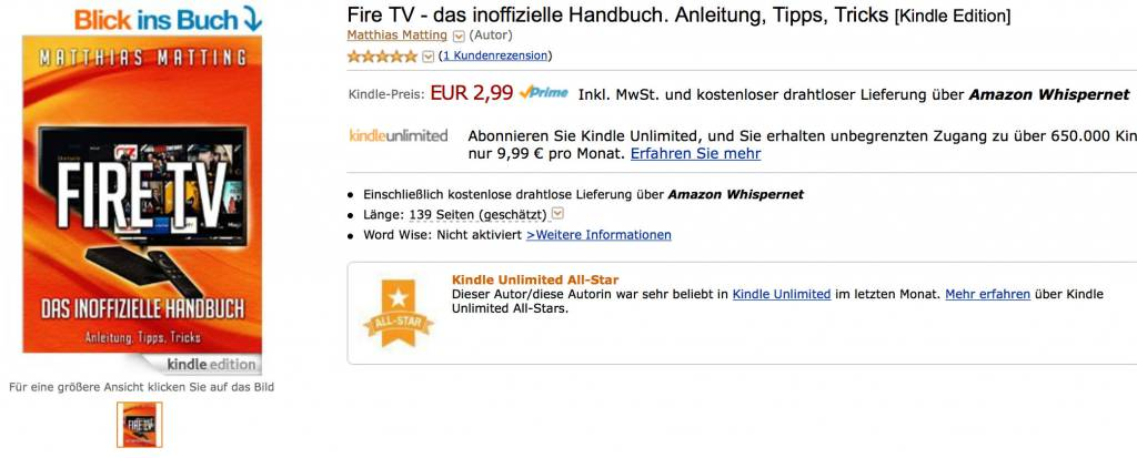"""So sieht ein AllStars-Label auf der Detailseite aus, hier für mein Buch """"Fire TV - das inoffizielle Handbuch"""""""