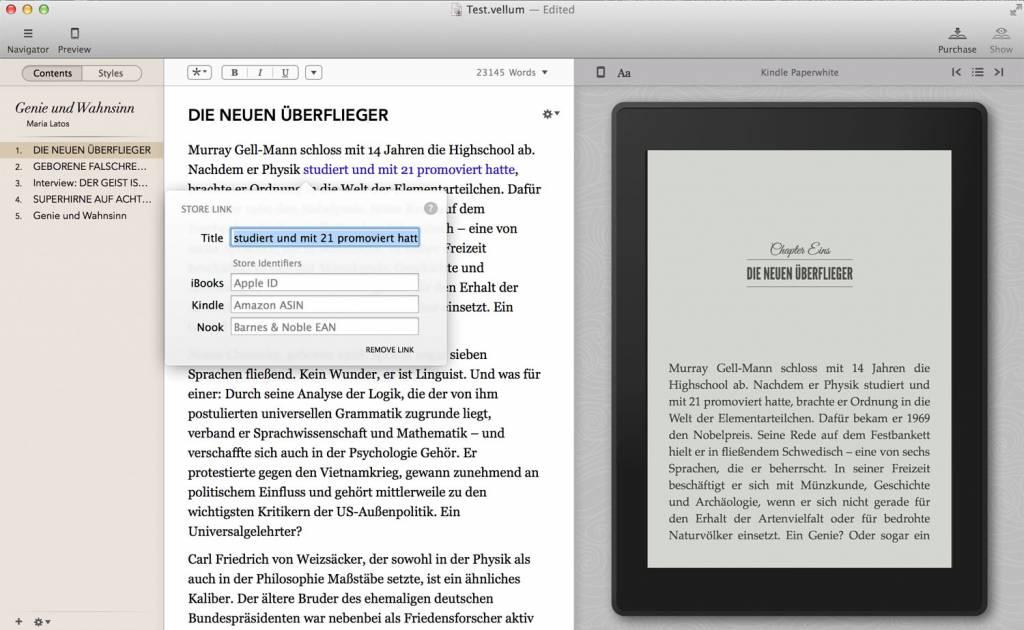 In der Content-Ansicht kann der Nutzer letzte Formatierungen hinzufügen. Die Voransicht aktualisiert sich live (hier für Paperwhite)