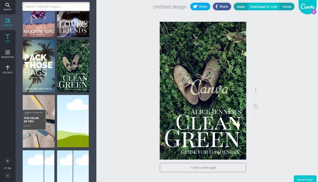 Der Design-Bildschirm von Canva