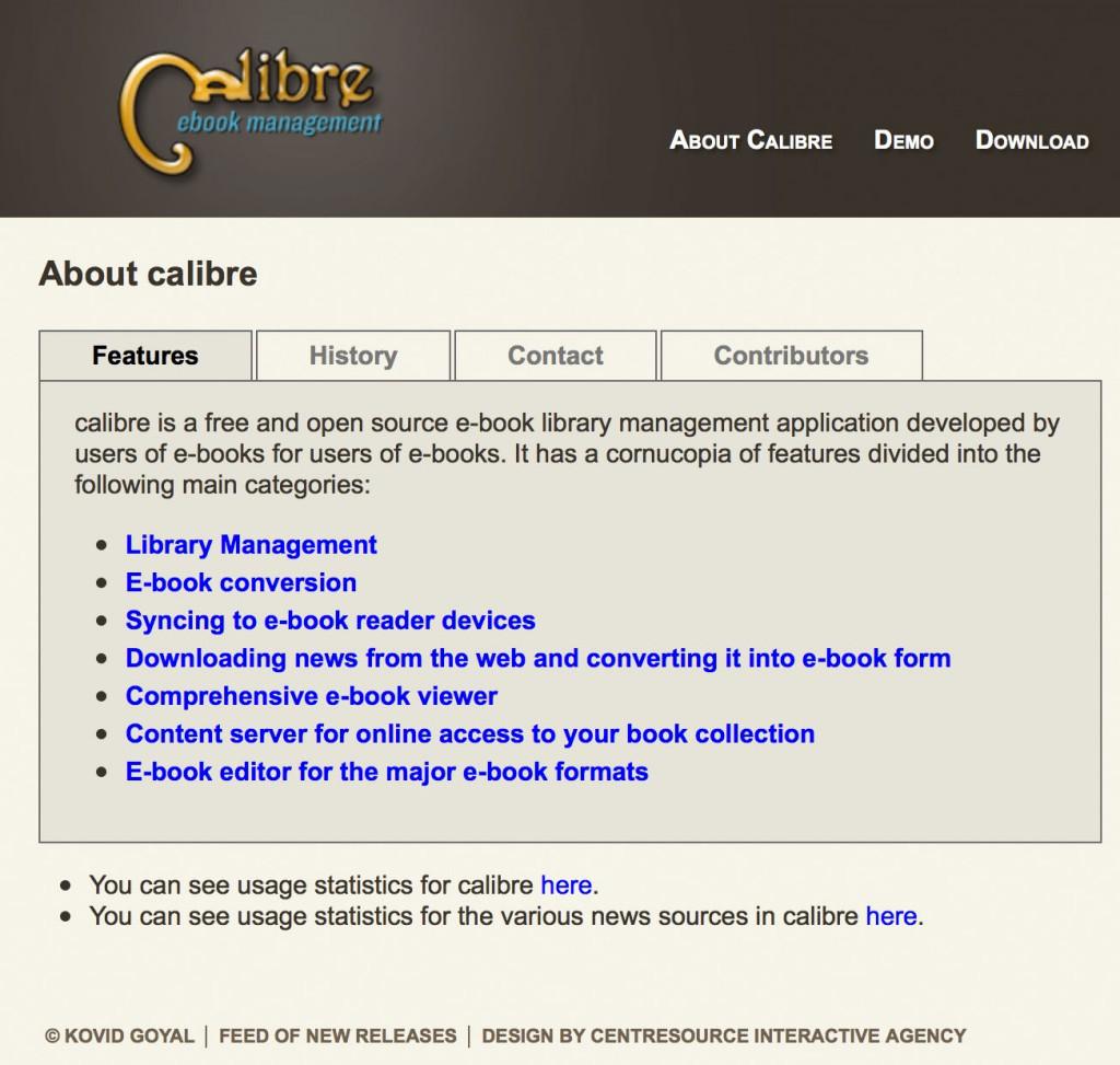 Die Homepage von Calibre