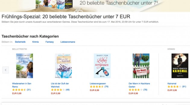 Marketing-News: Amazon mit Preisaktionen für gedruckte Indie-Bücher