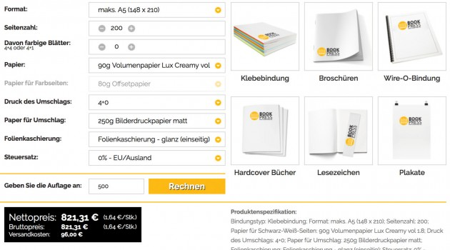 Günstiger Digitaldruck: 50 Prozent Neukunden-Rabatt bei Bookpress.eu