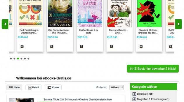 Neues Vermarktungs-Angebot: eBooks-Gratis.de bewirbt kostenlose Titel