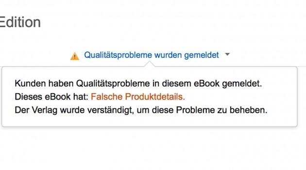 Fehlerhafte eBooks: Warnhinweise auch auf Amazon.de aktiv