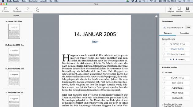Software-Test: Vellum-Konkurrent Kindle Create verwandelt Word-Manuskripte in schöne E-Books