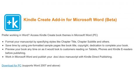 Software-Tipp: Amazon stellt Kindle-Create-Add-in für Word bereit
