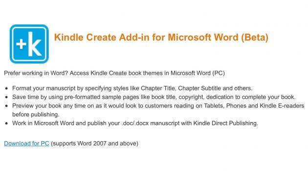 Software-Tipp: Amazon stellt Kindle-Create-Add-in für Word bereit