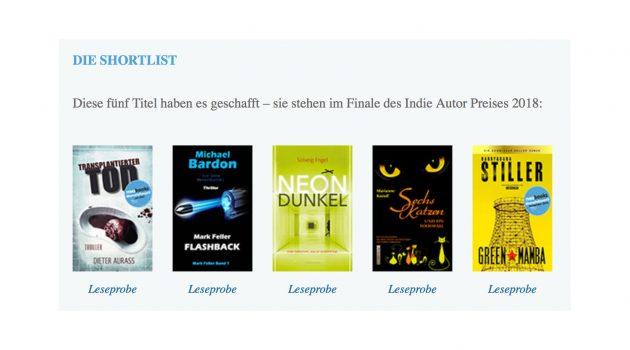 Indie-Autor-Preis 2018: Das ist die Shortlist