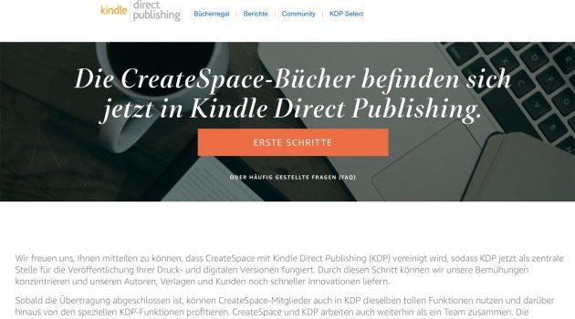 Amazon stellt CreateSpace ein, Bücher ziehen zu KDP